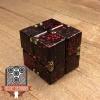 EDC Aluminum Infinity Cube Fidget Toy - Black with Red Splatter (1)