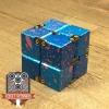 EDC Aluminum Infinity Cube Fidget Toy - Blue with Pink Splatter (1)
