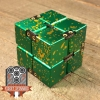 EDC Aluminum Infinity Cube Fidget Toy - Green with Yellow Splatter (1)