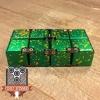 EDC Aluminum Infinity Cube Fidget Toy - Green with Yellow Splatter (2)