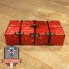 EDC Aluminum Infinity Cube Fidget Toy - Red with Orange Splatter (1)