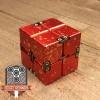 EDC Aluminum Infinity Cube Fidget Toy - Red with Orange Splatter (2)